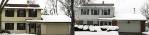 These homes show heat loss. You can see over the garage and portico how much snow there was.